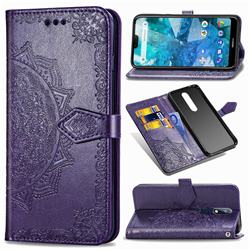 Embossing Imprint Mandala Flower Leather Wallet Case for Nokia 7.1 - Purple