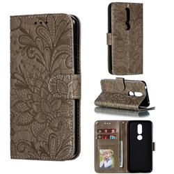 Intricate Embossing Lace Jasmine Flower Leather Wallet Case for Nokia 7.1 - Gray