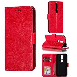 Intricate Embossing Lace Jasmine Flower Leather Wallet Case for Nokia 7.1 - Red