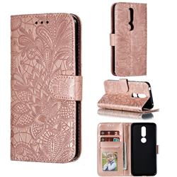 Intricate Embossing Lace Jasmine Flower Leather Wallet Case for Nokia 7.1 - Rose Gold