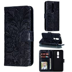 Intricate Embossing Lace Jasmine Flower Leather Wallet Case for Nokia 7.1 - Dark Blue