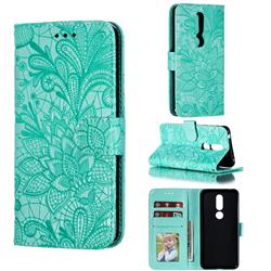 Intricate Embossing Lace Jasmine Flower Leather Wallet Case for Nokia 7.1 - Green
