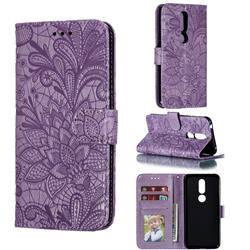 Intricate Embossing Lace Jasmine Flower Leather Wallet Case for Nokia 7.1 - Purple