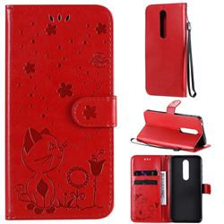 Embossing Bee and Cat Leather Wallet Case for Nokia 7.1 - Red