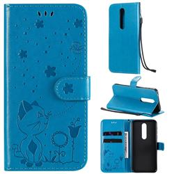 Embossing Bee and Cat Leather Wallet Case for Nokia 7.1 - Blue