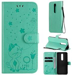 Embossing Bee and Cat Leather Wallet Case for Nokia 7.1 - Green