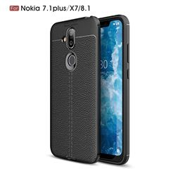 Luxury Auto Focus Litchi Texture Silicone TPU Back Cover for Nokia 8.1 (Nokia X7) - Black
