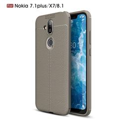 Luxury Auto Focus Litchi Texture Silicone TPU Back Cover for Nokia 8.1 (Nokia X7) - Gray