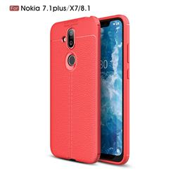 Luxury Auto Focus Litchi Texture Silicone TPU Back Cover for Nokia 8.1 (Nokia X7) - Red