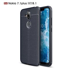 Luxury Auto Focus Litchi Texture Silicone TPU Back Cover for Nokia 8.1 (Nokia X7) - Dark Blue
