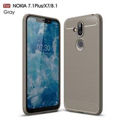 Luxury Carbon Fiber Brushed Wire Drawing Silicone TPU Back Cover for Nokia 8.1 (Nokia X7) - Gray