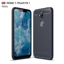 Luxury Carbon Fiber Brushed Wire Drawing Silicone TPU Back Cover for Nokia 8.1 (Nokia X7) - Navy
