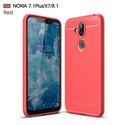 Luxury Carbon Fiber Brushed Wire Drawing Silicone TPU Back Cover for Nokia 8.1 (Nokia X7) - Red