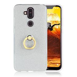 Luxury Soft TPU Glitter Back Ring Cover with 360 Rotate Finger Holder Buckle for Nokia 8.1 (Nokia X7) - White