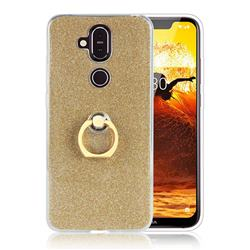 Luxury Soft TPU Glitter Back Ring Cover with 360 Rotate Finger Holder Buckle for Nokia 8.1 (Nokia X7) - Golden