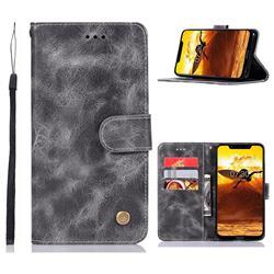Luxury Retro Leather Wallet Case for Nokia 8.1 (Nokia X7) - Gray