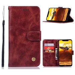 Luxury Retro Leather Wallet Case for Nokia 8.1 (Nokia X7) - Wine Red