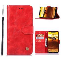 Luxury Retro Leather Wallet Case for Nokia 8.1 (Nokia X7) - Red