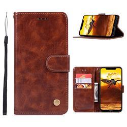Luxury Retro Leather Wallet Case for Nokia 8.1 (Nokia X7) - Brown