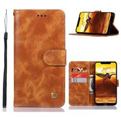 Luxury Retro Leather Wallet Case for Nokia 8.1 (Nokia X7) - Golden