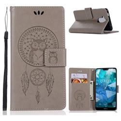 Intricate Embossing Owl Campanula Leather Wallet Case for Nokia 8.1 (Nokia X7) - Grey