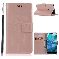 Intricate Embossing Owl Campanula Leather Wallet Case for Nokia 8.1 (Nokia X7) - Rose Gold