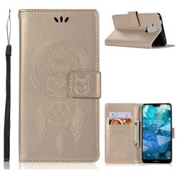 Intricate Embossing Owl Campanula Leather Wallet Case for Nokia 8.1 (Nokia X7) - Champagne