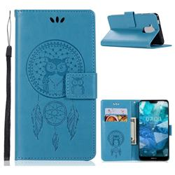 Intricate Embossing Owl Campanula Leather Wallet Case for Nokia 8.1 (Nokia X7) - Blue