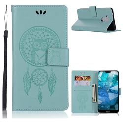 Intricate Embossing Owl Campanula Leather Wallet Case for Nokia 8.1 (Nokia X7) - Green