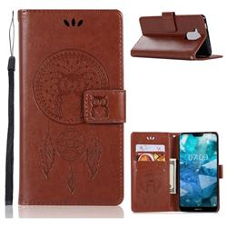 Intricate Embossing Owl Campanula Leather Wallet Case for Nokia 8.1 (Nokia X7) - Brown