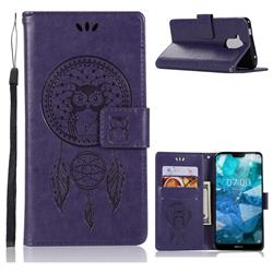 Intricate Embossing Owl Campanula Leather Wallet Case for Nokia 8.1 (Nokia X7) - Purple