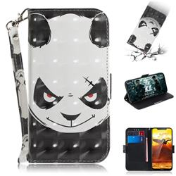 Angry Bear 3D Painted Leather Wallet Phone Case for Nokia 8.1 (Nokia X7)