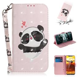 Heart Cat 3D Painted Leather Wallet Phone Case for Nokia 8.1 (Nokia X7)
