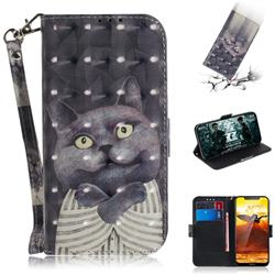 Cat Embrace 3D Painted Leather Wallet Phone Case for Nokia 8.1 (Nokia X7)