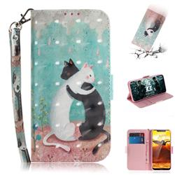 Black and White Cat 3D Painted Leather Wallet Phone Case for Nokia 8.1 (Nokia X7)