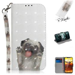 Pug Dog 3D Painted Leather Wallet Phone Case for Nokia 8.1 (Nokia X7)