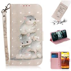 Three Squirrels 3D Painted Leather Wallet Phone Case for Nokia 8.1 (Nokia X7)