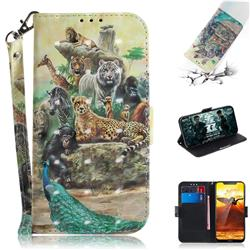 Beast Zoo 3D Painted Leather Wallet Phone Case for Nokia 8.1 (Nokia X7)