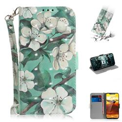 Watercolor Flower 3D Painted Leather Wallet Phone Case for Nokia 8.1 (Nokia X7)