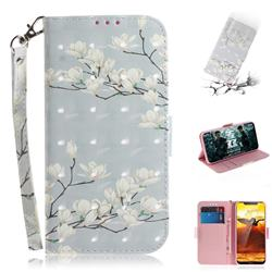 Magnolia Flower 3D Painted Leather Wallet Phone Case for Nokia 8.1 (Nokia X7)