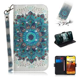 Peacock Mandala 3D Painted Leather Wallet Phone Case for Nokia 8.1 (Nokia X7)