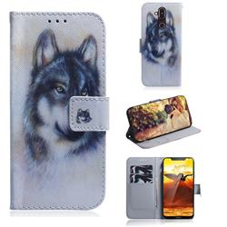 Snow Wolf PU Leather Wallet Case for Nokia 8.1 (Nokia X7)