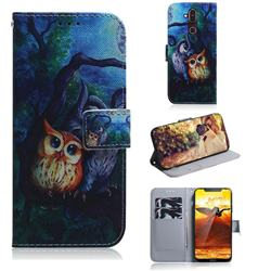 Oil Painting Owl PU Leather Wallet Case for Nokia 8.1 (Nokia X7)