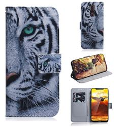 White Tiger PU Leather Wallet Case for Nokia 8.1 (Nokia X7)