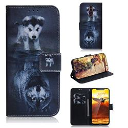Wolf and Dog PU Leather Wallet Case for Nokia 8.1 (Nokia X7)