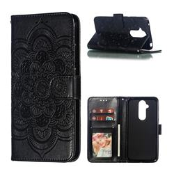 Intricate Embossing Datura Solar Leather Wallet Case for Nokia 8.1 (Nokia X7) - Black
