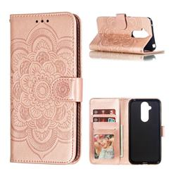 Intricate Embossing Datura Solar Leather Wallet Case for Nokia 8.1 (Nokia X7) - Rose Gold