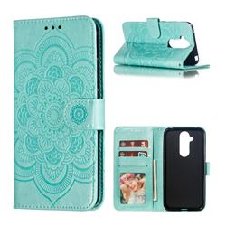 Intricate Embossing Datura Solar Leather Wallet Case for Nokia 8.1 (Nokia X7) - Green