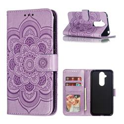 Intricate Embossing Datura Solar Leather Wallet Case for Nokia 8.1 (Nokia X7) - Purple