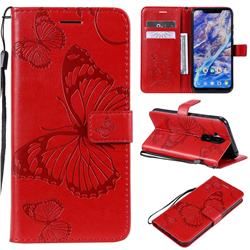 Embossing 3D Butterfly Leather Wallet Case for Nokia 8.1 (Nokia X7) - Red
